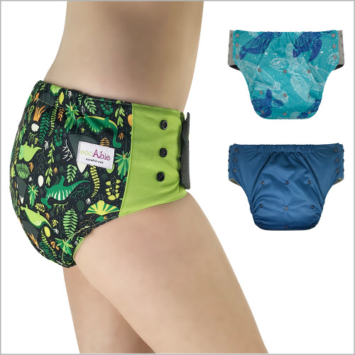 EcoAble - Pull On Cloth Diaper with Tabs – Special Needs Briefs for Big Kids, Teens and Adults