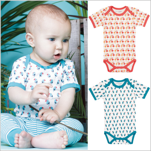 Sense Organics - Baby Onesie Bodysuit with Short Sleeves, 100% Organic Cotton