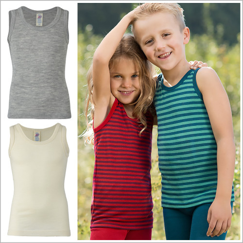 Engel - Kids Sleeveless Thermal Shirt: Base Layer or Pajama Top, Organic Merino Wool Silk