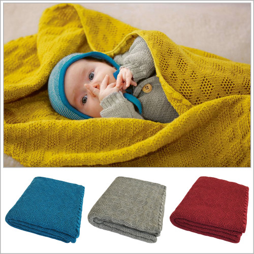 Disana - Baby Warm Blanket, Washable Merino Wool Receiving Thermal Blanket, 31x40 inches