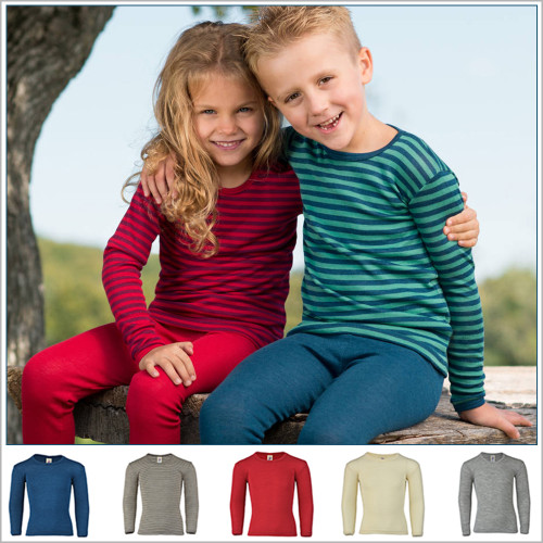 ENGEL - Kids Long Sleeve Thermal Base Layer Shirt or Pajama Top, Organic Merino Wool Silk, Sizes 2-13 years