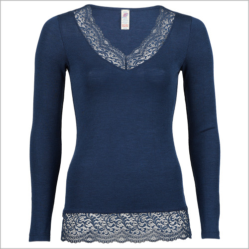 ENGEL - Women's Thermal Base Layer Top - Lightweight Moisture Wicking Merino Wool Silk V-Neck Undershirt with Lace