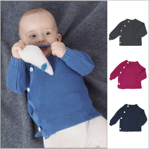REIFF - Baby Boys and Girls Thermal Cardigan, 100% Organic Merino Wool, Sizes 3-24 Months