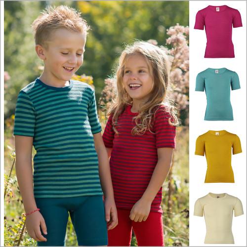 ENGEL - Kid's Short Sleeve Thermal Base Layer Shirt, 70% Organic Merino Wool 30% Silk, Sizes 2-15 Years