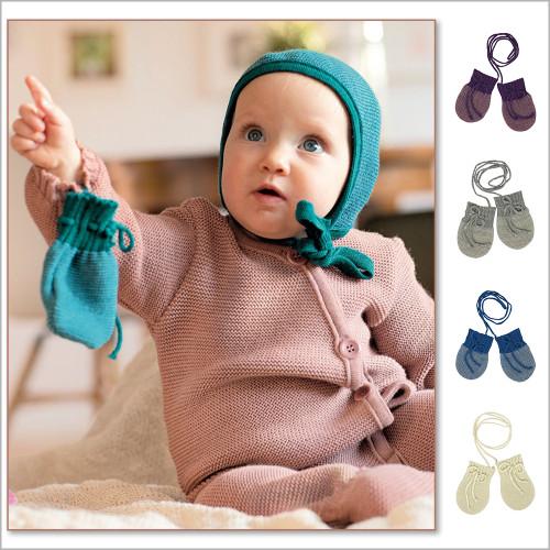 DISANA - Baby Thumbless Thermal Mittens, 100% Organic Merino Wool, Newborn - 6 Months
