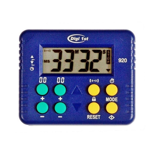 Digi 1st T-920 9999 Minute Desk Count Up and Countdown Timer with Clock. Custom Imprinting available. Perfect for traveling, lab experiments, kitchen, lawyer office, classroom, and so on. It can also be used as a meditation timer because of its silent function.