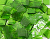 Spring Grass Green English Muffle Hand Cut, Stained Glass Mosaic Tiles