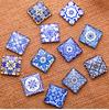 """48 Blue Pottery Theme 3/8"""" Mini Square Glass Cabochons"""