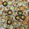 20 Flowery Clocks 14mm Round Glass Cabochons