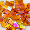 Cinnamon Translucent Iridescent Stained Glass Mosaic Tiles COE 96