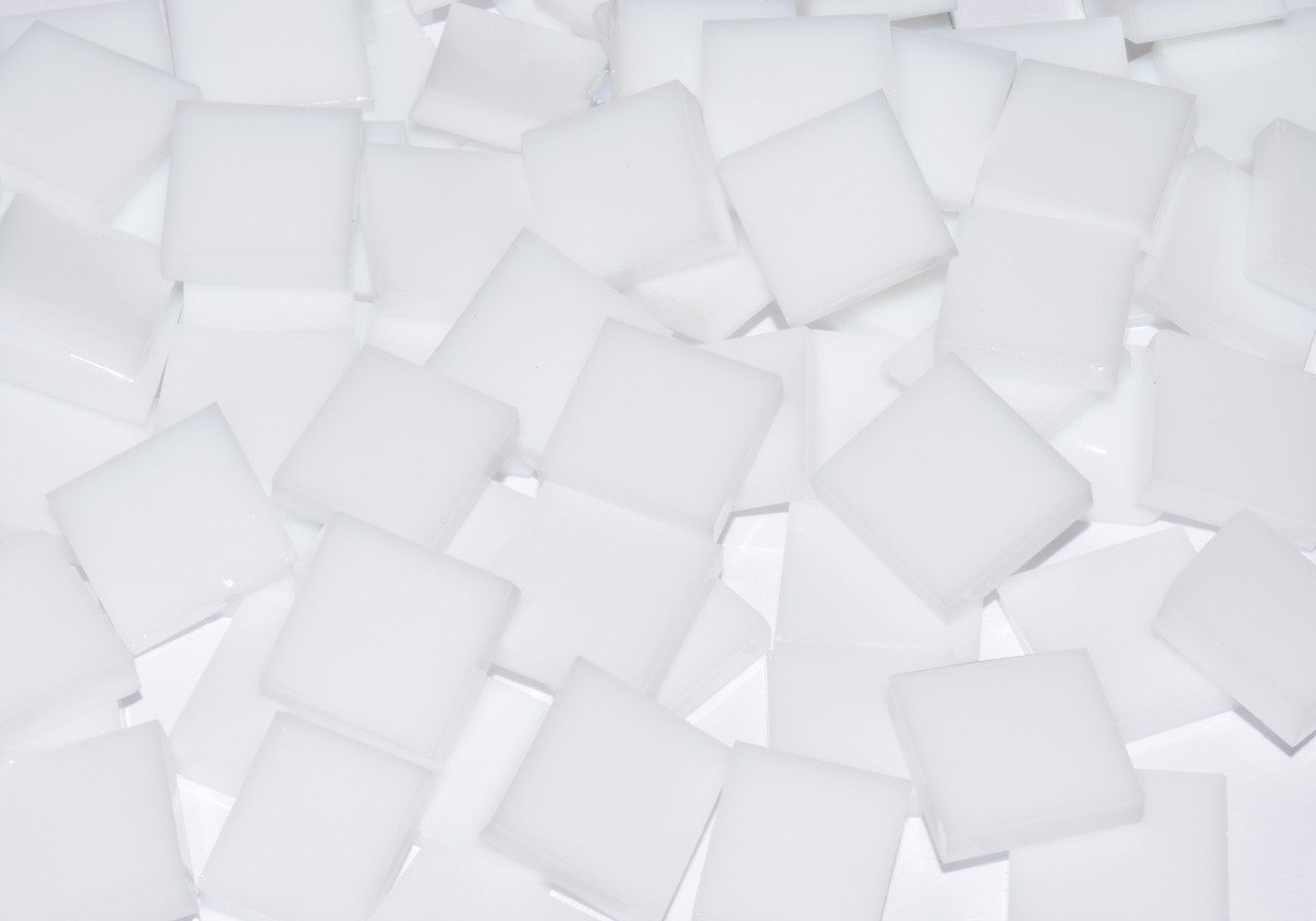 Bulk Discount - White Opal Stained Glass Mosaic Tiles, COE 96
