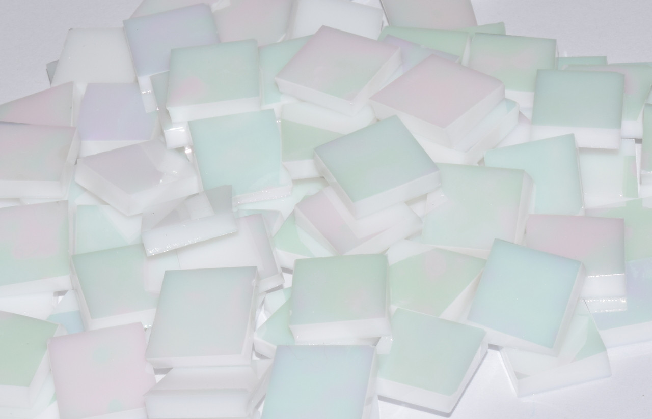 White Opal Iridescent Stained Glass Mosaic Tiles COE 96