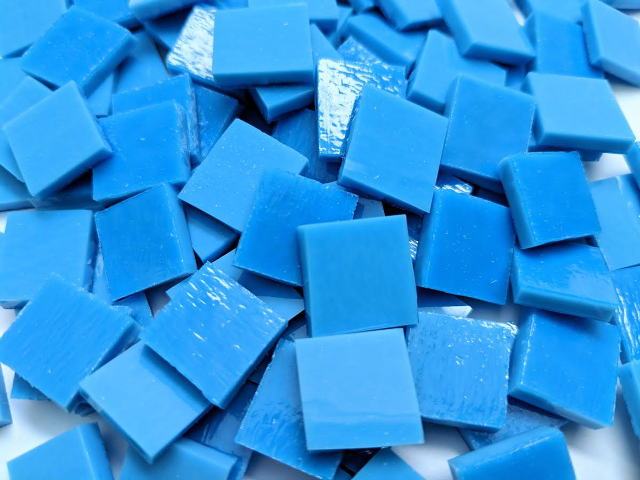 Bulk Discount - Reactive Blue Opal Stained Glass Mosaic Tiles COE 96