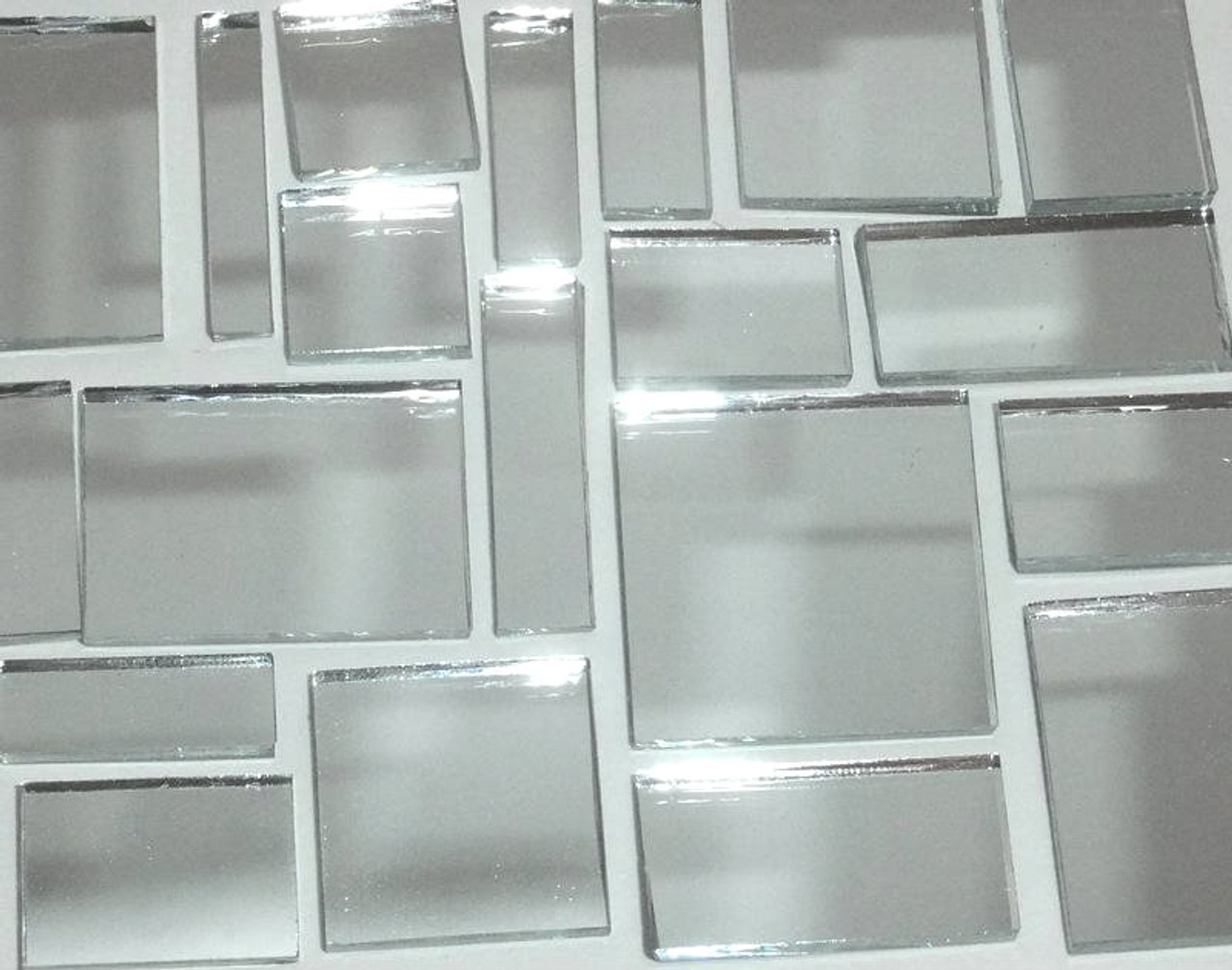 SILVER MIRROR JUMBLED MIX - TWO POUNDS mosaic tiles