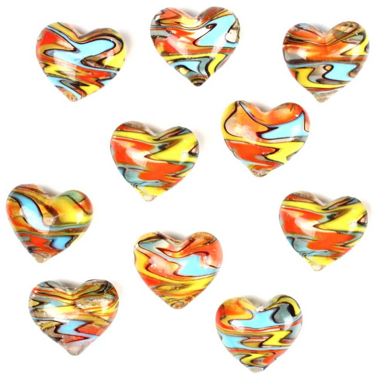 1 Round Glass Heart 25mm - FUNKY SWIRLS