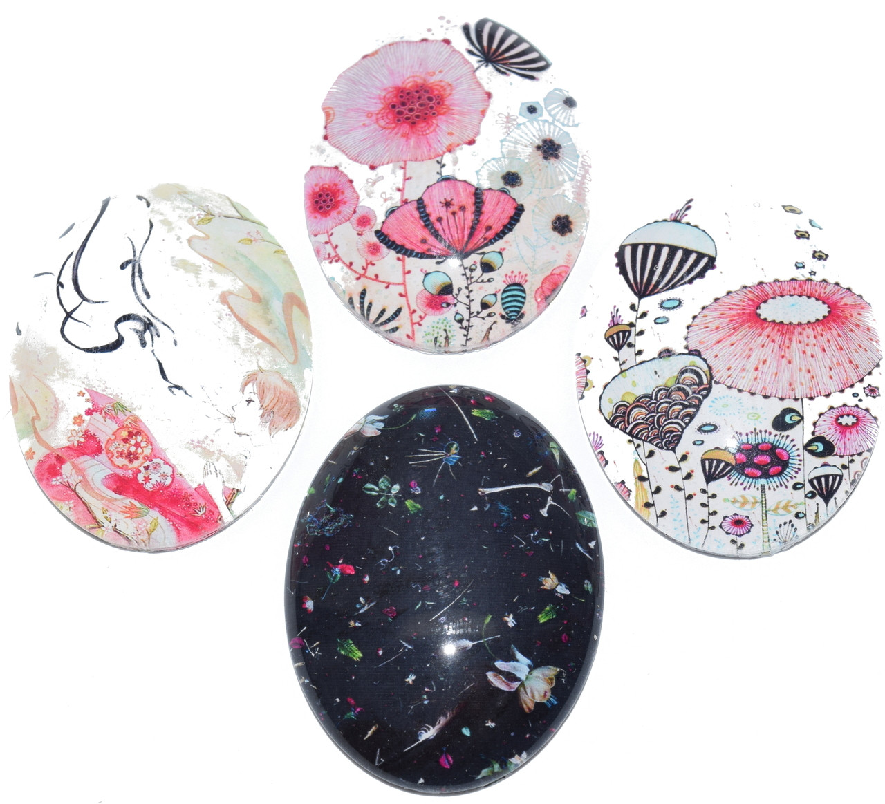 4 Flower Child Cabochons 25x18mm Ovals