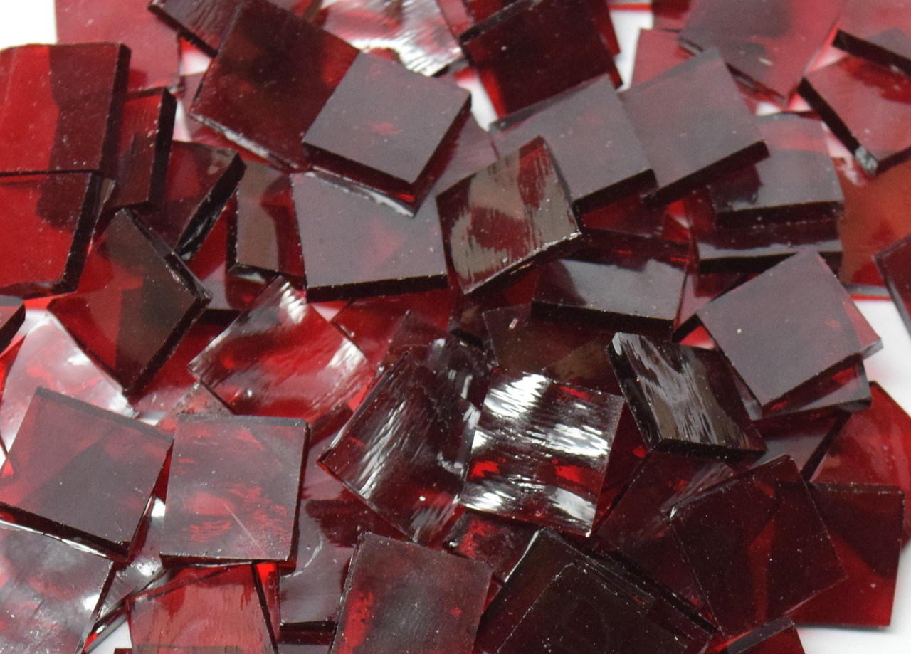 Bulk Discount - Manchester Red English Muffle Hand Cut, Stained Glass Mosaic Tiles