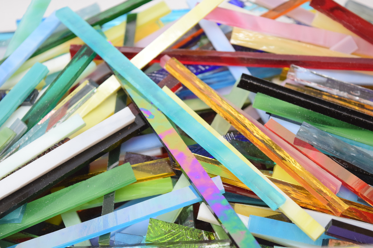 1/2 lb Random Mix Stained Glass Mosaic Strips