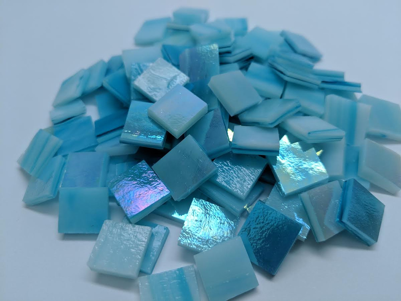 Sky Blue Opal Iridescent Stained Glass Mosaic Tiles