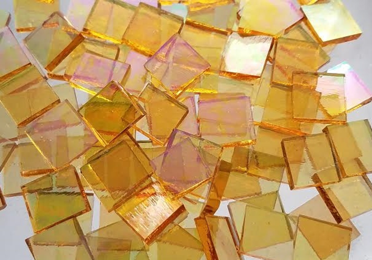 """1"""" x 1""""Iridescent Honey Yellow Stained Glass Mosaic Tiles (25 tiles)"""