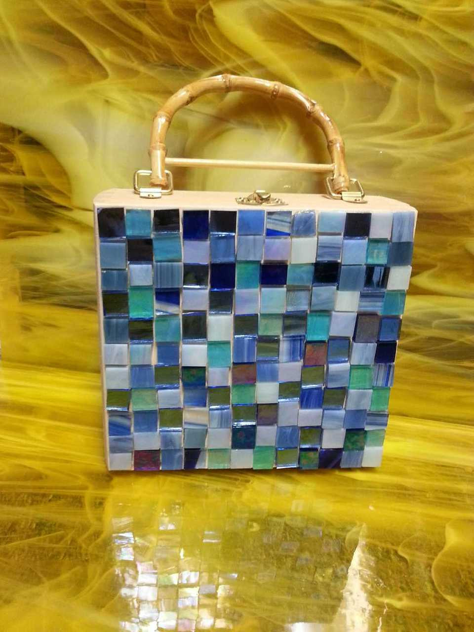 """1/2"""" x 1/2"""" Blue Mix Hand Cut Stained Glass Mosaic Tiles (100 tiles)"""