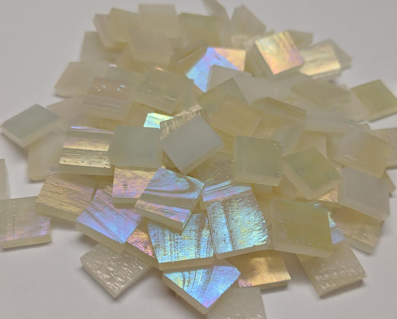 Bulk Discount - Pale Amber Shimmer Stained Glass Mosaic Tiles