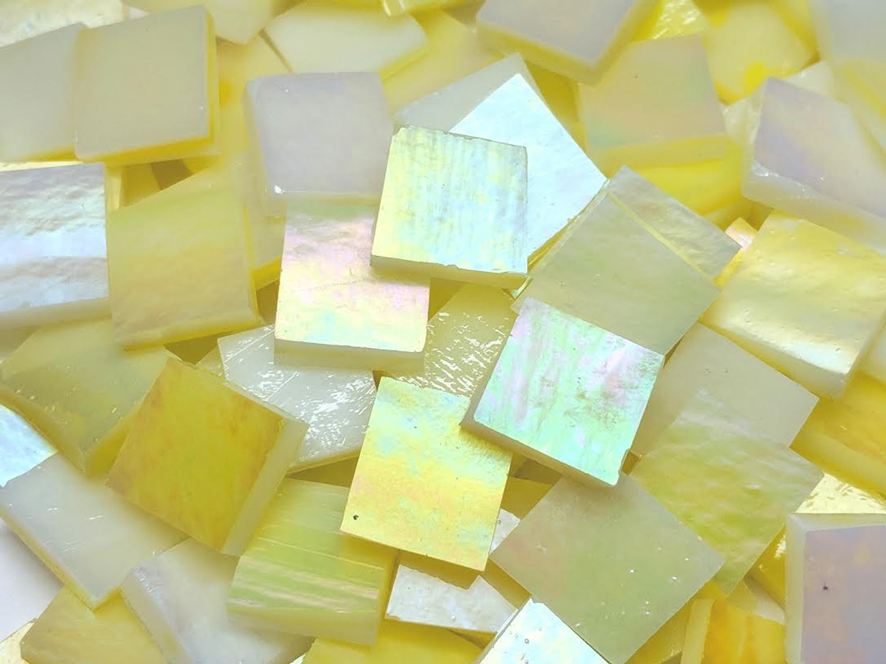 Bulk Discount - Primrose Yellow Iridescent Stained Glass Mosaic Tiles