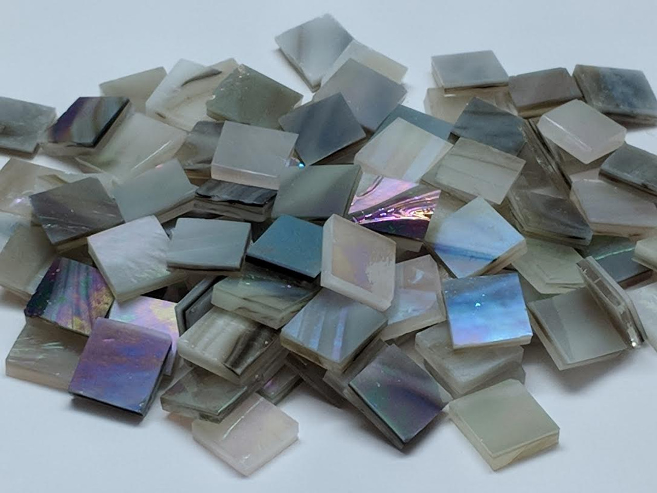 Brown, Gray & White Opal Iridescent Stained Glass Mosaic Tiles