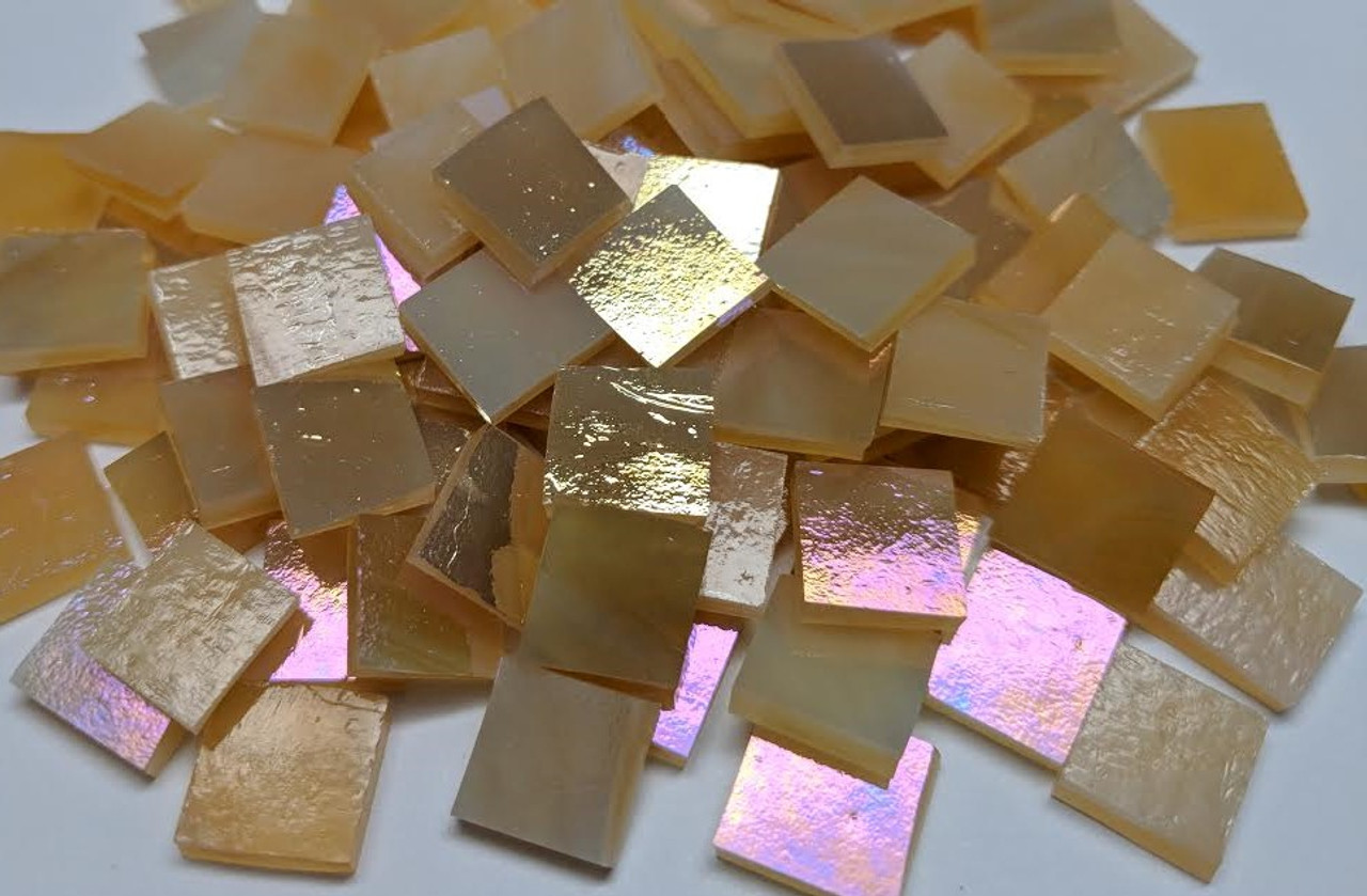 Bulk Discount - Medium Amber Shimmer Stained Glass Mosaic Tiles