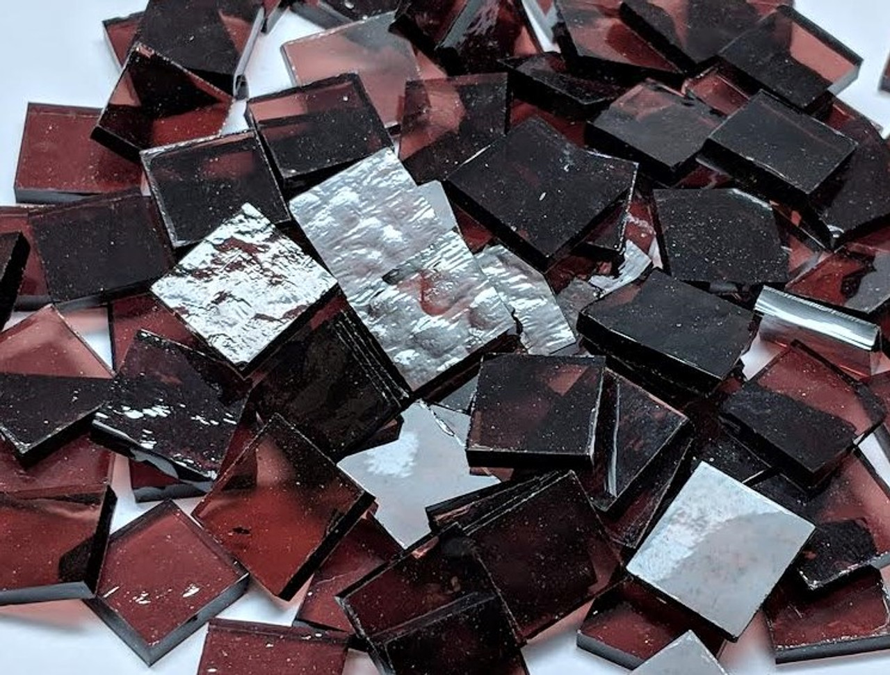 Dusky Rose Classic, Purple Translucent Stained Glass Mosaic Tiles