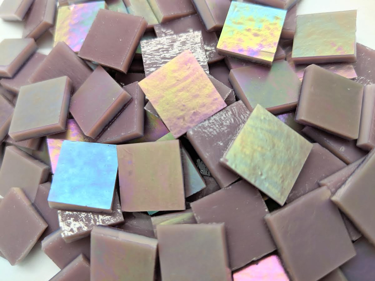 Bulk Discount ~ Violet Opal Iridescent Stained Glass Mosaic Tiles COE 96
