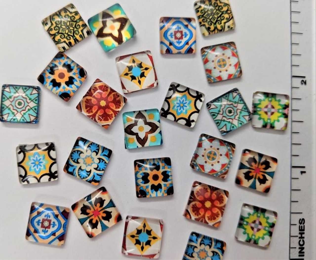 "24 Pansy Paradise Theme 3/8"" Mini Square Glass Cabochons"