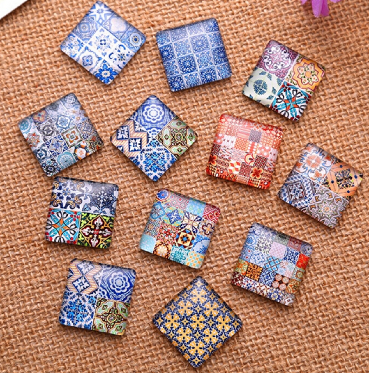"24 Tiny Tile Theme 3/8"" Mini Square Glass Cabochons"