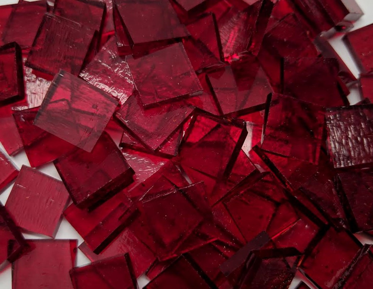 Ruby Red Cathedral Stained Glass Mosaic Tiles