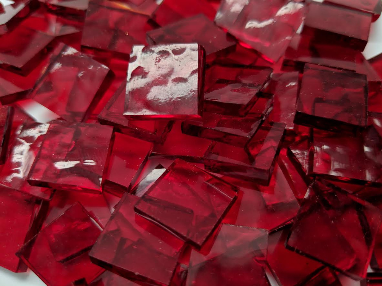 Bulk Discount ~ Cherry Red Classic Stained Glass Mosaic Tiles