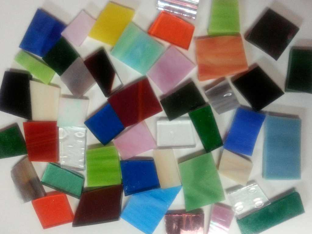 Lopsided Tesserae Mix - Assorted Stained Glass Mosaic Tile Colors, 4 oz.