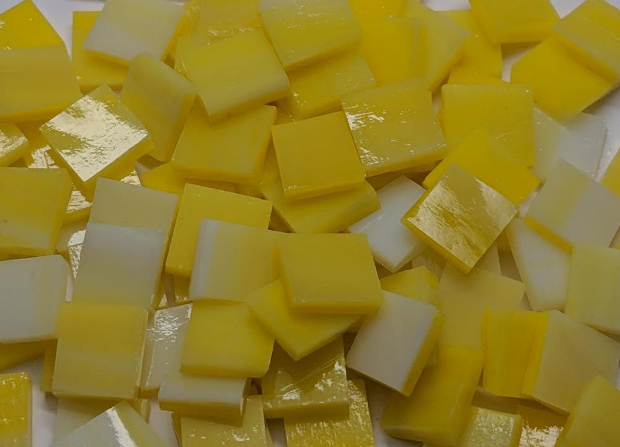 Bulk Discount ~ Cadmium Yellow Opal Stained Glass Mosaic Tiles