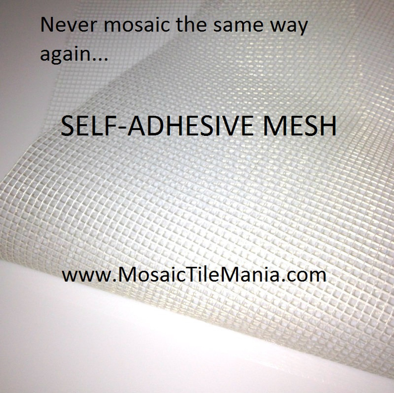 "Self-Adhesive Fiberglass Mesh for Mosaic Tiles 10' x 37"" + FREE GIFT"