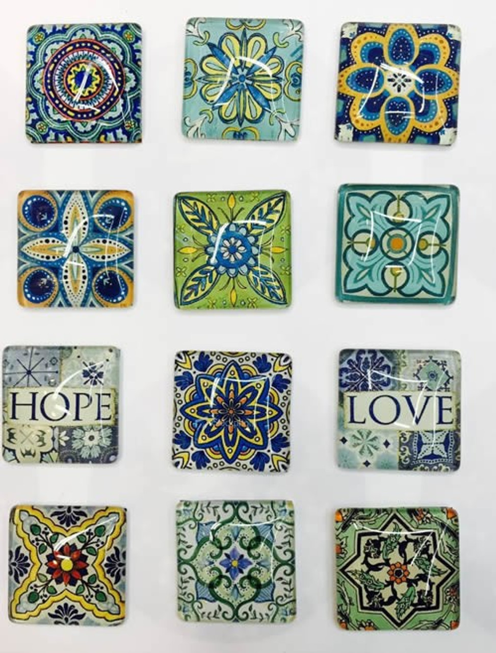 20 Hope & Love 20mm Square Glass Cabochons