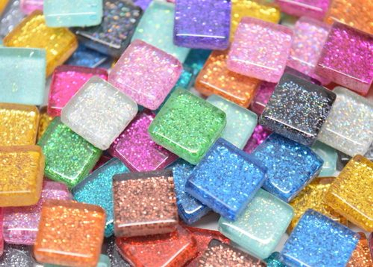 JUMBO BAG (Save $5):  1 cm Glitter Glass Tile Mix 1 POUND (Approx 500 tiles)