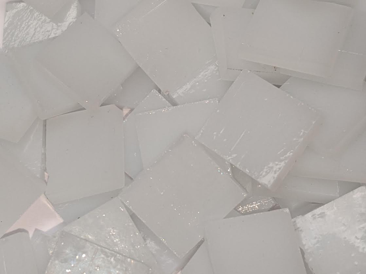 Milky White Stained Glass Mosaic Tiles