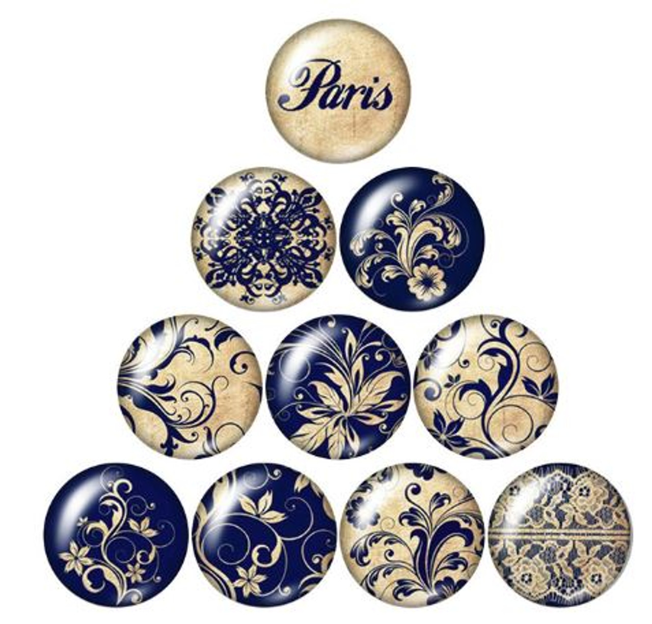 10 Parisian Blue  25mm Round Glass Cabochons