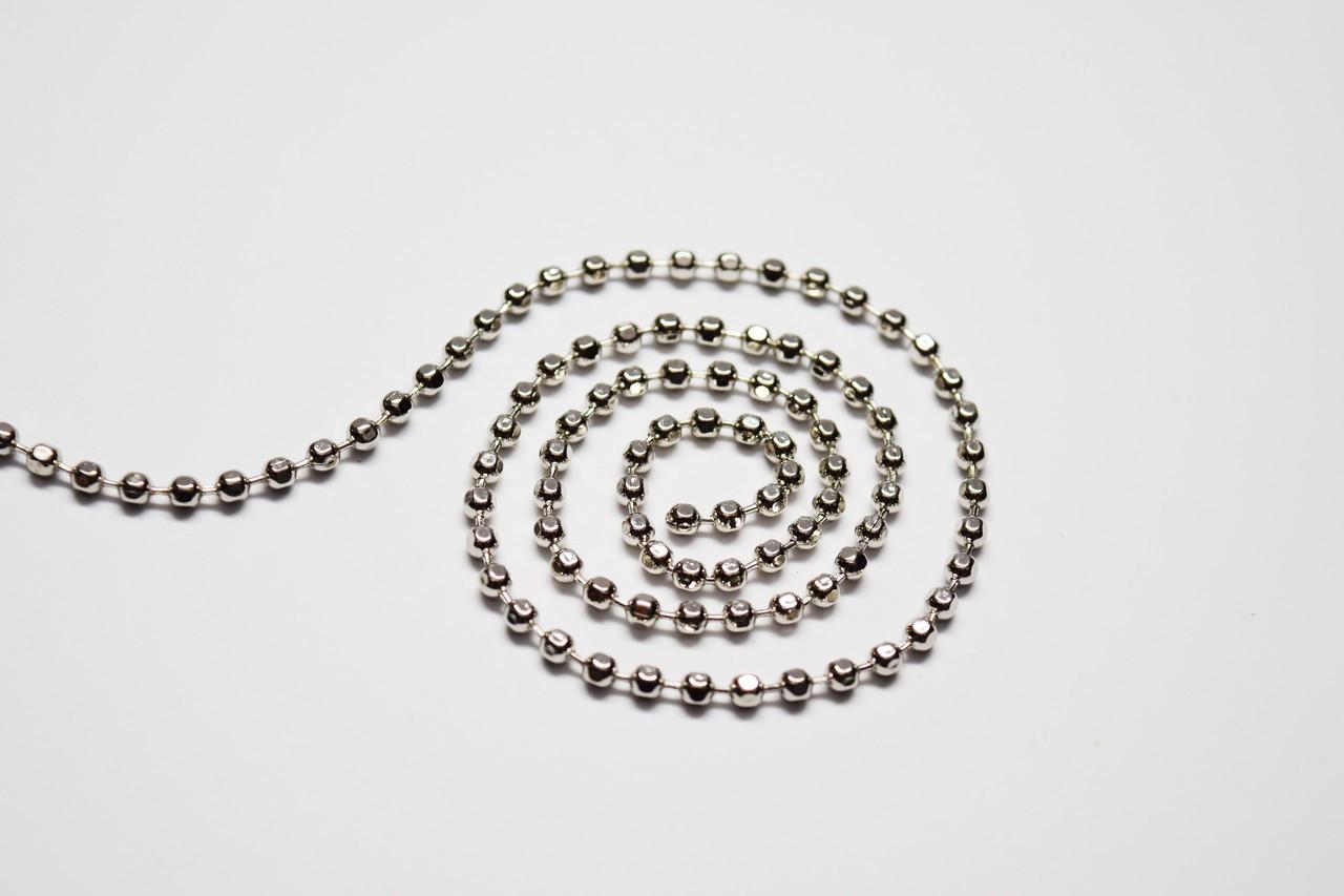 #6 FACETED Silver Ball Chain, 10 feet