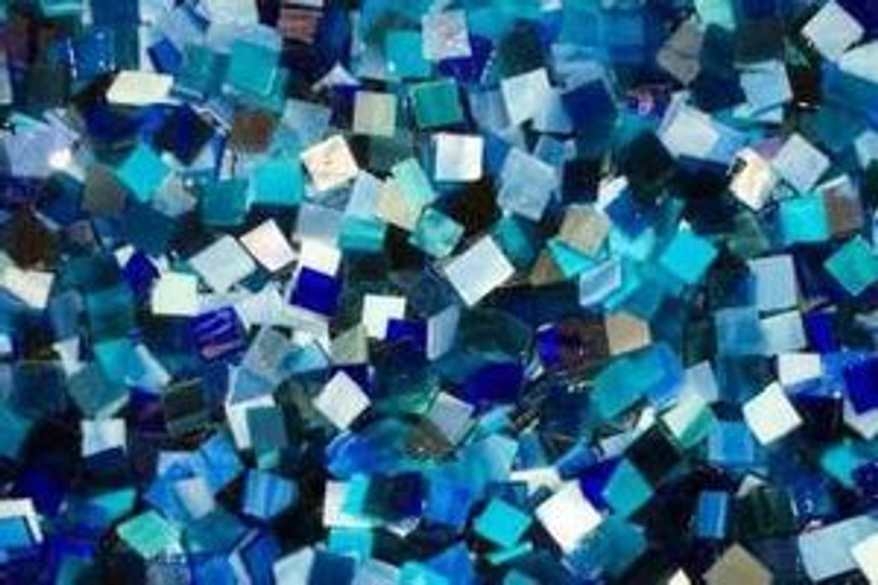 """1/2"""" x 3/4"""" Blue Mix Hand Cut Stained Glass Mosaic Tiles (70 tiles)"""