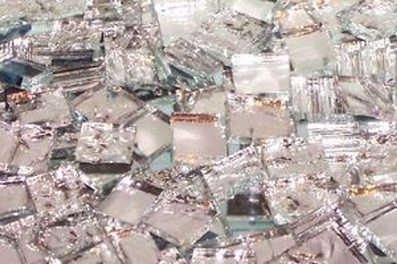 "1"" x 1/2"" Alex's Textured Mirror Mix Hand Cut Glass Mosaic Tiles (50 tiles)"