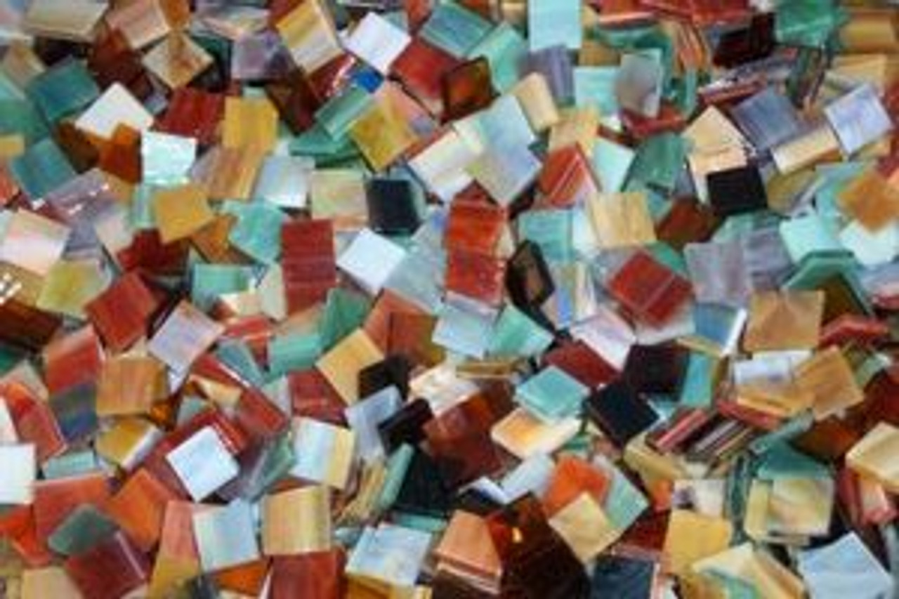 "1"" x 1"" Earth Tones Mix Stained Glass Mosaic Tiles (25 tiles)"