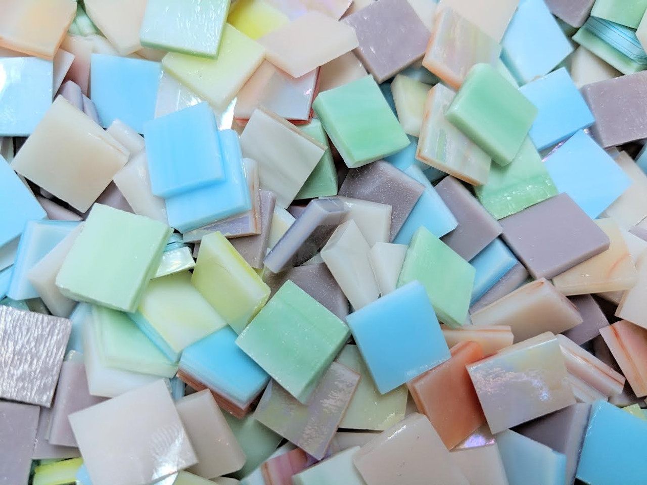 """1"""" x 1/2"""" Julia's Pastel Mix Stained Glass Mosaic Tiles (50 tiles)"""