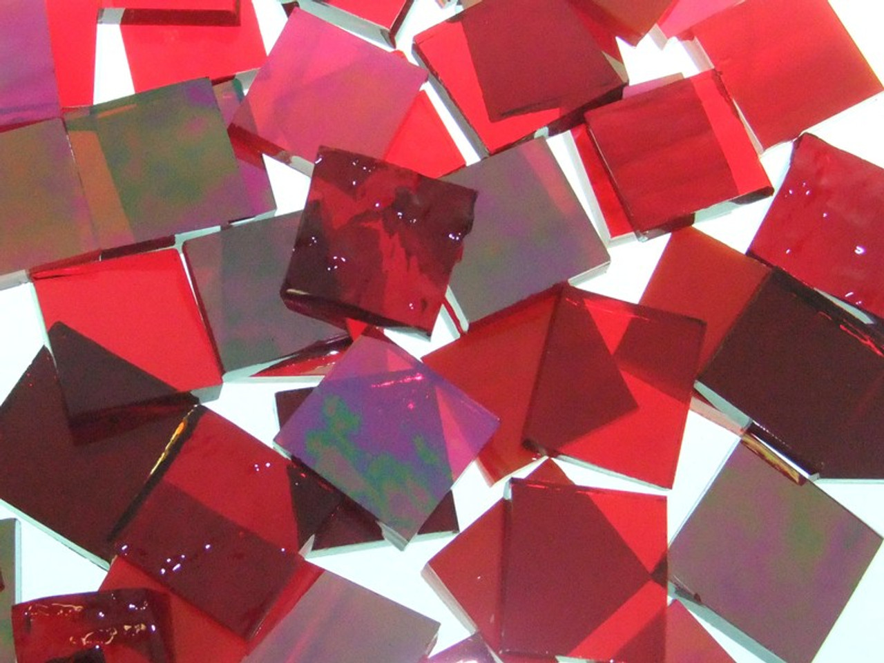 """1"""" x 1/2"""" Red Mix Stained Glass Mosaic Tiles (50 tiles)"""