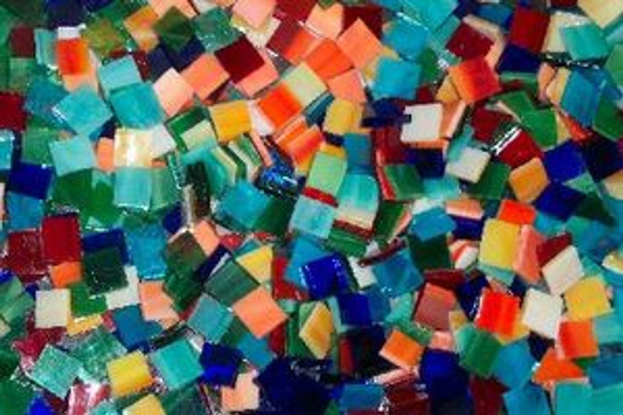 """3/4"""" x 1/2"""" Mason's Tropical Mix Stained Glass Mosaic Tiles (70 tiles)"""