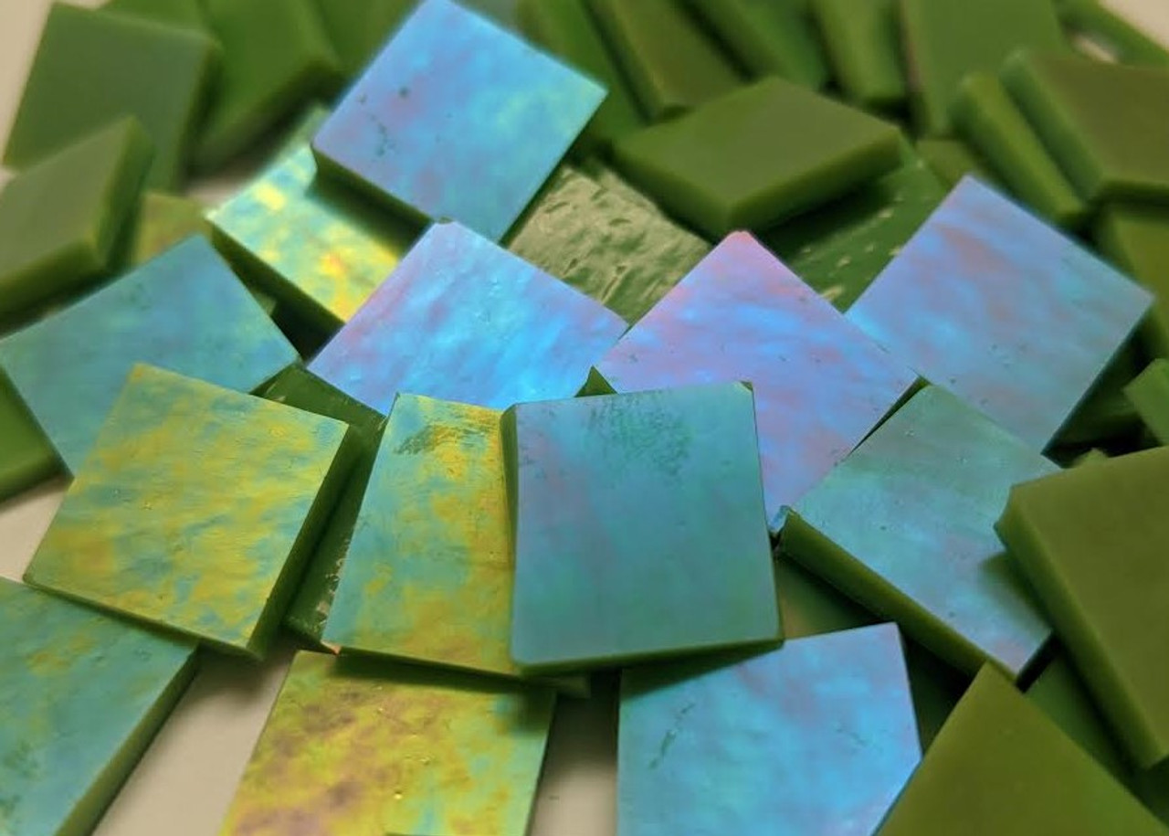 Bulk Discount - Olive Green Opal Luminescent Stained Glass Mosaic Tiles COE 96